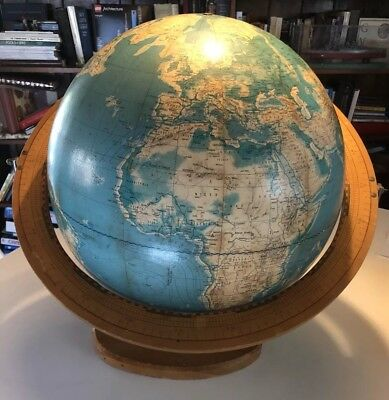 1962 Cartocraft 16 inch Visual Relief Globe & Wood Stand Vintage
