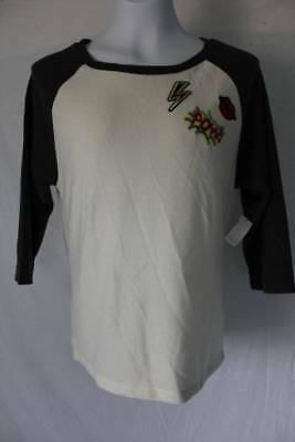 NEW Womens Long Sleeve Top Size Small Ladies White w Gray High Low Knit Shirt