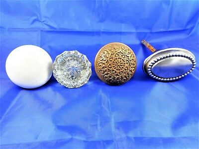 Lot of 4 Antique Door Knobs Porcelain Glass Brass or Bronze Eastlake? Steel