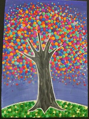 Original Painting Aceo Art Card 2 5 X 3 5 Signed Dot Art Tree
