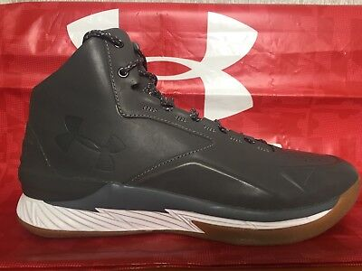 db7d0fdbe111 Under Armour UA Curry 1 Lux Mid Leather Gray Gum Bottom 1296616-035 Sz 11.5