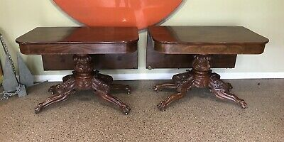 Classical Antique Empire Acanthus Carved Claw Foot 2 Part Dining Table