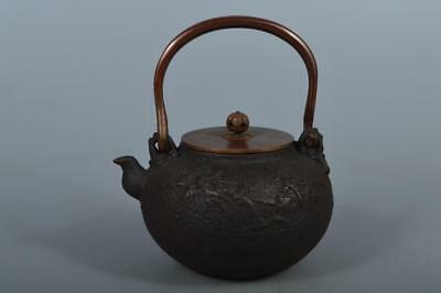 M5513: Japanese Iron TEA KETTLE Teapot Tetsubin, Kibundo made w/copper lid