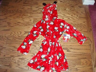 Children's Snoopy Hooded Bath Robe Size 6/6X Peanuts Woodstock Christmas Holiday