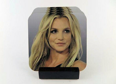 Britney Spears Coasters_Metal _. Set of 4 with Mahogany Stand.