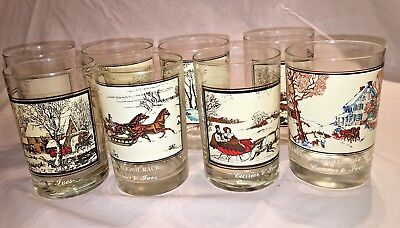 Currier & Ives 1978 & 1981 Arby's Collector Series - Set of 8 Highball Glasses