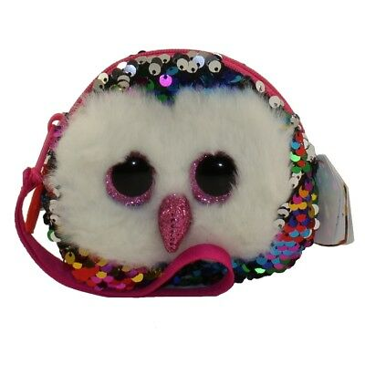 """New 2018 TY 5"""" OWEN the Owl Fashion Flippy Sequin Wristlet Coin Purse with Strap"""
