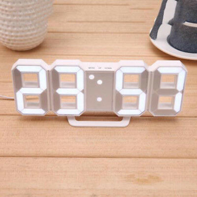 Table Clock Desk Watches 24 or 12 Hour Display White With USB Power Cable LED