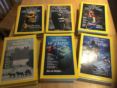 National Geographic Magazines 1980s -  set of 50 magazines project collage.