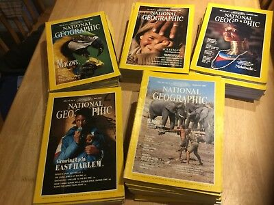 National Geographic Magazines 1980s, 90s -  set of 50 magazines project collage.