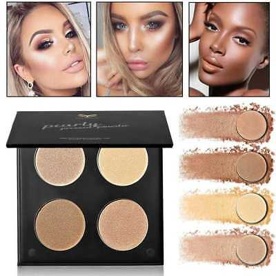 POP AU4 Colors Women Shimmer/Matte Highlighter Bronzer Eyeshadow Pressed Powder