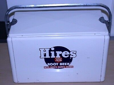 1950's WHITE CRONSTROMS HIRES ROOT BEER ALUMINUM COOLER ICE CHEST NICE CONDITION