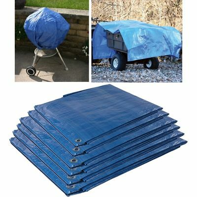 Blue Waterproof Tarpaulin Ground Sheet Lightweight Camping Cover Tarp Eyelets