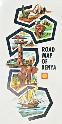 1970's Shell Vintage Laminated Double Sided Road Map of Kenya Nairobi Africa