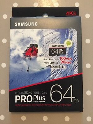 64GB Samsung ProPlus Micro SD Memory Card UHS3 100MB/s with Full Size SD Adapter