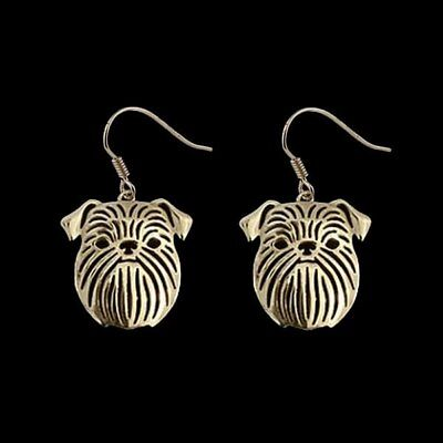 Brussels Griffon Dog Earrings Gold ANIMAL RESCUE DONATION