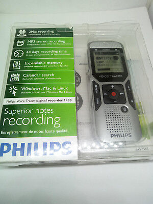 Philips DVT1400 Digital Voice Tracer Recorder 1400 Handheld Dictaphone USB Notes