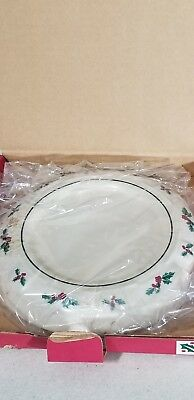 Longaberger Pottery Pillar Candle Holder Traditional Holly - Mib