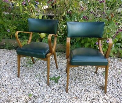 Original Pair of Mid Century Stoe Ben Chair Carvers Deep Green