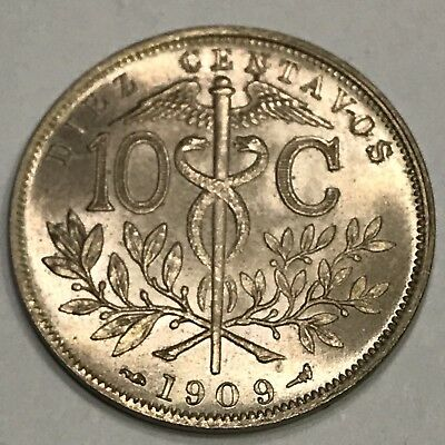 1909 Bolivia 10 centavos * KM#174.3 * Beautiful Coin AU