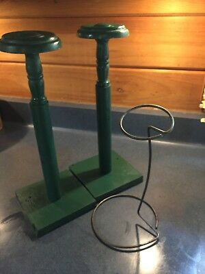 2 Wood Matched Hat Stands & 1 Metal Stand Vintage Millinery Haberdashery Wig Hat