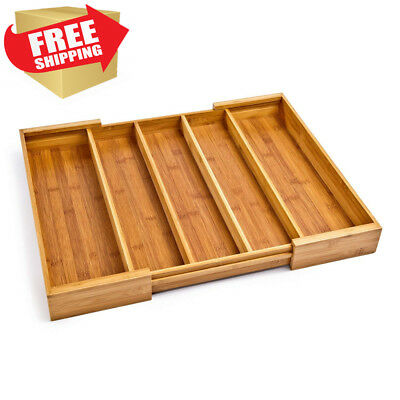 Seville Classics Bamboo Expandable 5 Large Compartment Adjustable Cutlery...