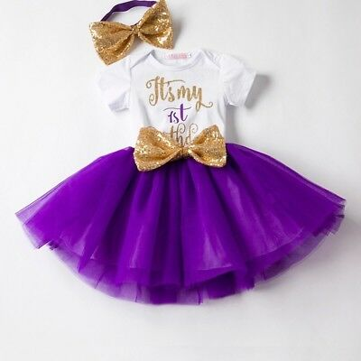 Baby Girls First 1st Birthday Outfit Tutu Skirt Bow Cake Smash Party Princess