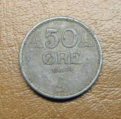 Scarce 1944 Norway Zinc 50 Ore, World War Ii Nazi Occupation Coin