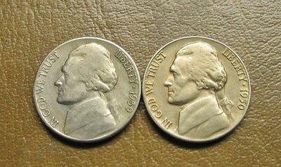 Two (2) Harder Date Jefferson Nickels, 1939-S And 1950-D