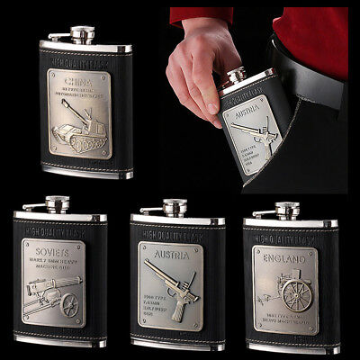 Engraved Leather Wrapped Stainless Steel 8 oz Hip Flask Whiskey Flagon + Funnel