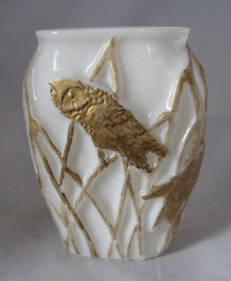 Vintage Consolidated Phoenix Glass White Vase with Gold Owls