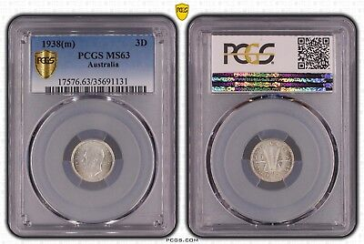 1938(m) Threepence MS63 PCGS Choice UNC Australia 3D