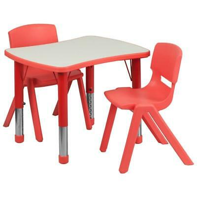 21.875''W x 26.625''L Rectangular Red Plastic Height Adjustable Activity Table S