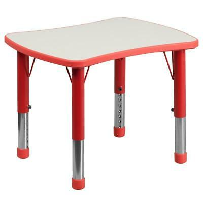 21.875''W x 26.625''L Rectangular Red Plastic Height Adjustable Activity Table w