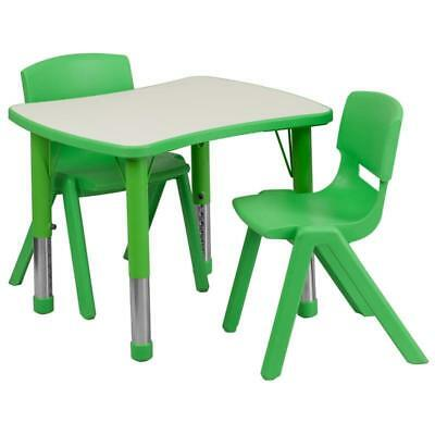 21.875''W x 26.625''L Rectangular Green Plastic Height Adjustable Activity Table