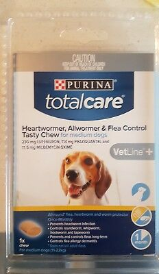 purina total care heartwormer allwormer & flea control tasty chew for medium dog