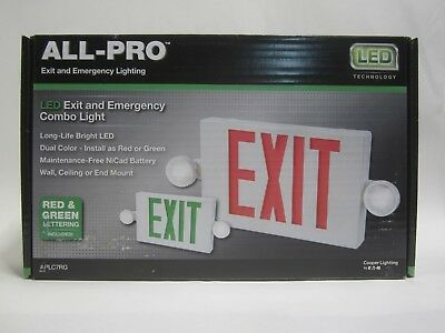 EATON'S COOPER All-Pro Red/Green LED Hardwired Exit and Emergency Light Combo