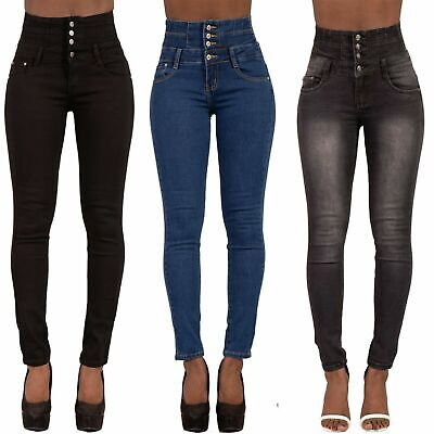 Women High Waisted Denim Skinny Jeans Ladies  Stretch Pants SIZE 6-16