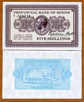 Isle of Sodor, 5 shillings, Limited Private issue, Specimen, UNC > KGV, Train