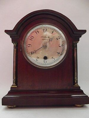 Edwardian Mahogany Cased Mantel Clock With Replacement Quartz Movement