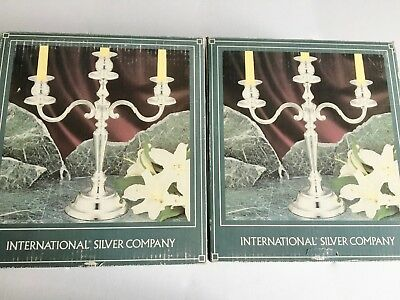 VINTAGE Pair of 3 Arm Candelabras, International Silver Company, New In Box, Sil