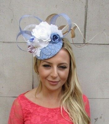Cornflower Light Blue White Gold Flower Feather Hat Hair Fascinator Races 6212