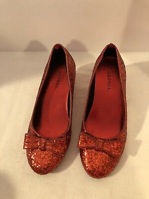 Girls Dorothy Ruby Red Slipper Wizard Of Oz Glitter Halloween Costume Shoes Sz 2