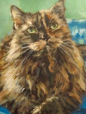 Tortoiseshell TORTIE Cat Boxed Note Cards Blank (4) Printed from Orig. Painting