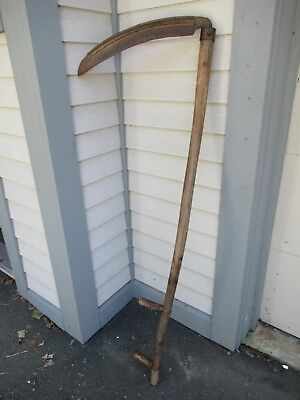 "Vintage Antique 61"" Long Scythe Hay Grain Sickle Farm Tool Blade is 19"" Long"