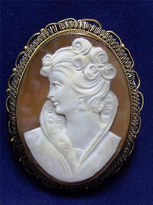 Vintage Gorgeous Fine 800 Silver Vermeil Carved Shell CAMEO Profile Pin BROOCH