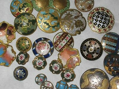 28 Buttons Old Enamel mixed colors sizes  anciens old french  lot 28
