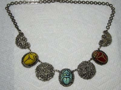 Vtg Art Deco Egyptian Revival Multi Glass Scarabs Filigree Silver Plat Necklace