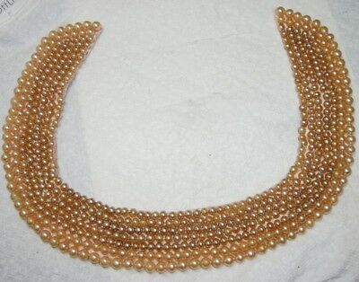 TRULY REGAL ART CRAFT Beaded Collar with Shaded Layers of Faux Pearl Beads~JAPAN
