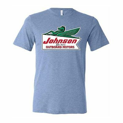OMC BRP Vintage Powder Blue Johnson Outboard Motors Short Sleeve T-Shirt